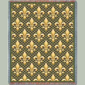 Fleur De Lis Green Tapestry Throw Blanket Patterns And