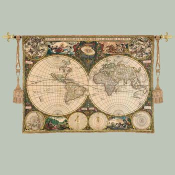 World Map Tapestry Wall Hanging world: old world map tapestry wall hanging :: maps and travel